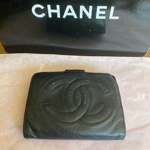 Authentic Chanel black leather wallet taking offer